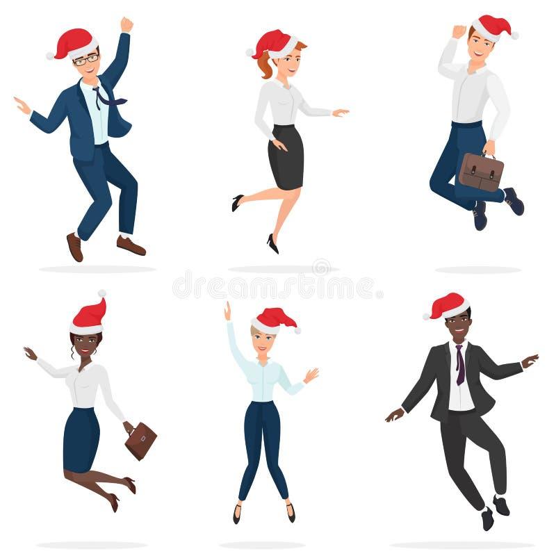 Biznesowy biuro w urzędniku nadaje się mężczyzna i kobiet w Bożenarodzeniowych czerwonych kapeluszach skacze, tanczy i ma, zabawę ilustracja wektor