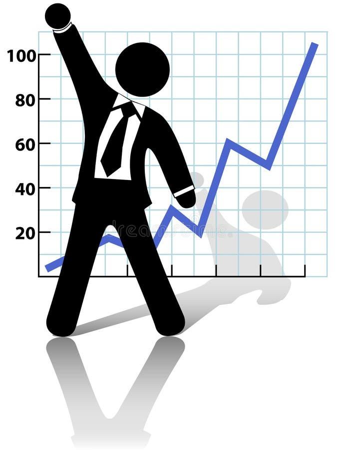 biznesowy biznesmen świętuje wzrostowego sukces