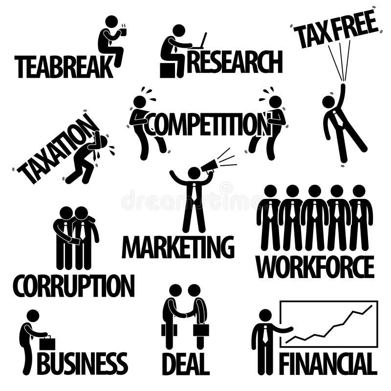 Biznesowy biznesmena teksta pojęcia piktogram ilustracji