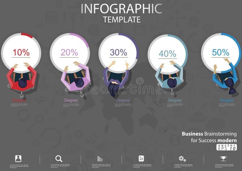 Biznesowy Brainstorming dla sukcesu nowo?ytnego projekta poj?cia i pomys?u Infographic Wektorowego ilustracyjnego szablonu z proc ilustracja wektor
