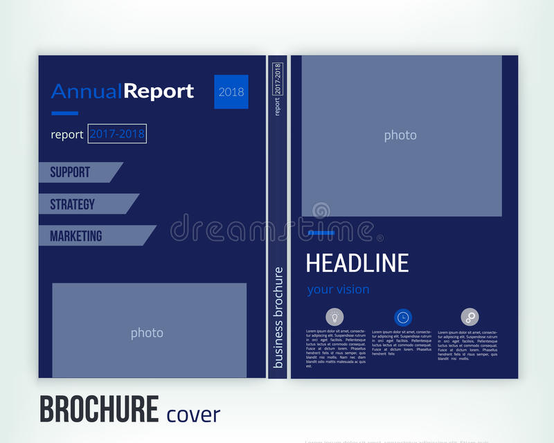 Biznesowy broszurki pokrywy projekta układu szablon w A4 rozmiarze Biznesowa książkowa pokrywa, ulotka, fachowa korporacyjna tożs ilustracja wektor