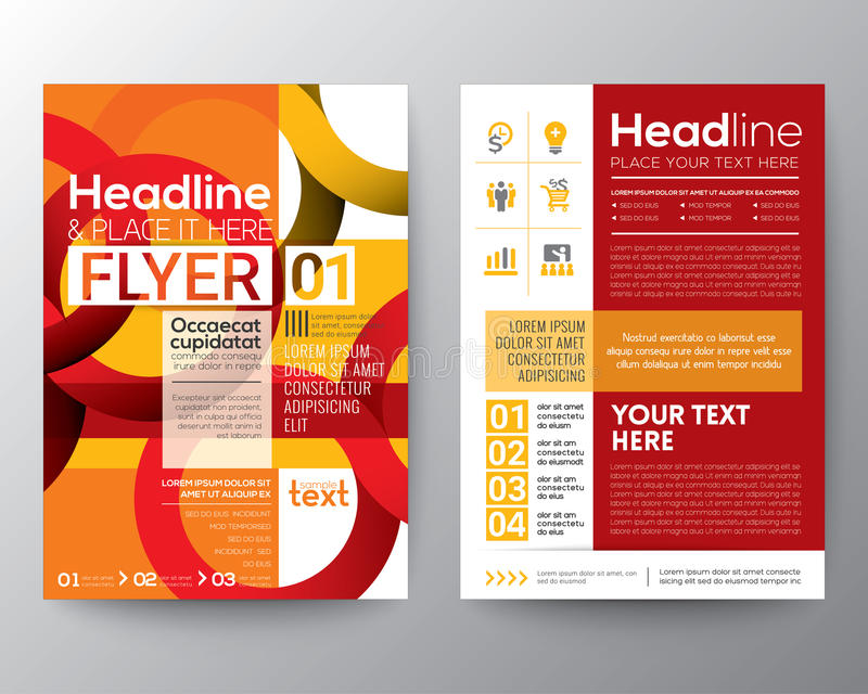 Biznesowy broszurki ulotki projekta układu szablon z abstrakcjonistycznym czerwonym okręgu kreskowego kształta tłem royalty ilustracja