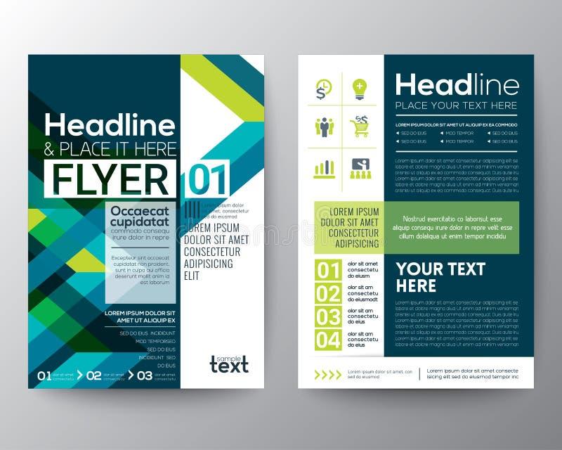 Biznesowy broszurki ulotki projekta układu szablon z abstrakt zielenią i błękitnym geometrycznym kreskowym kształtem royalty ilustracja