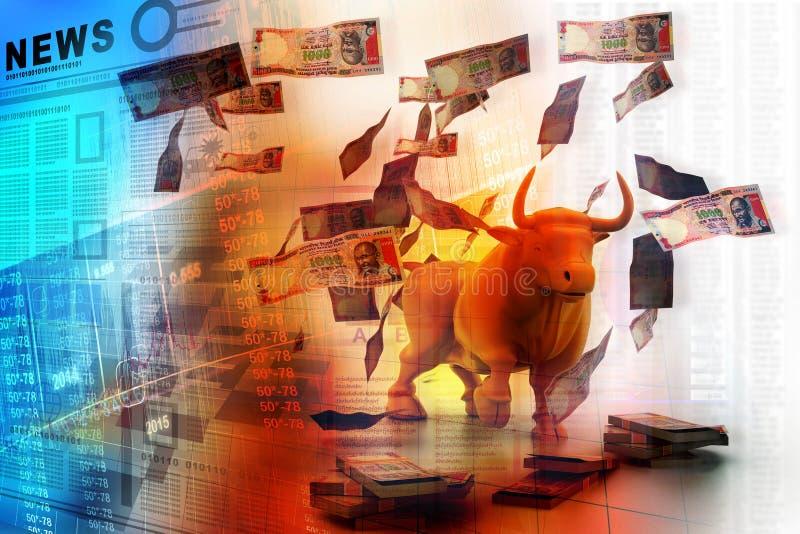 Biznesowy byk i pieniądze ilustracja wektor