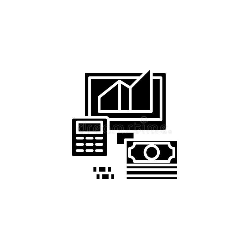 Biznesowy celny kalkulacyjny czarny ikony pojęcie Biznesowy celny kalkulacyjny płaski wektorowy symbol, znak, ilustracja ilustracji