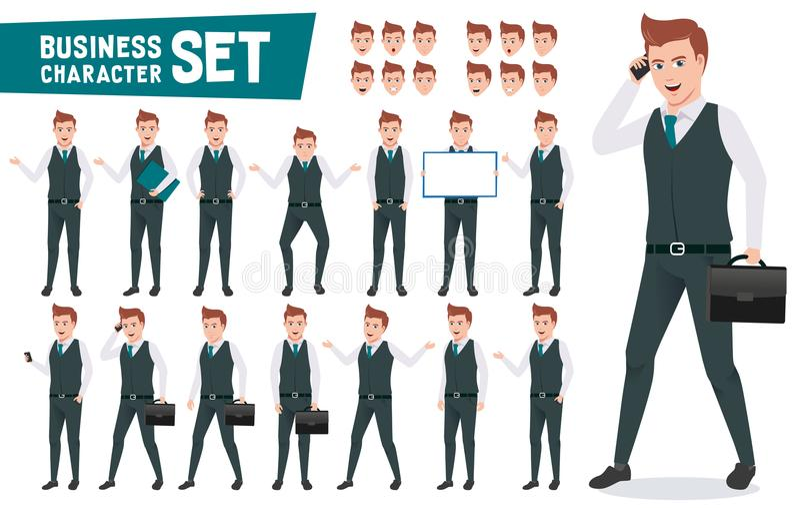 Biznesowy charakteru wektorowy ustawiający z biznesmenem jest ubranym biurowego ubiór royalty ilustracja