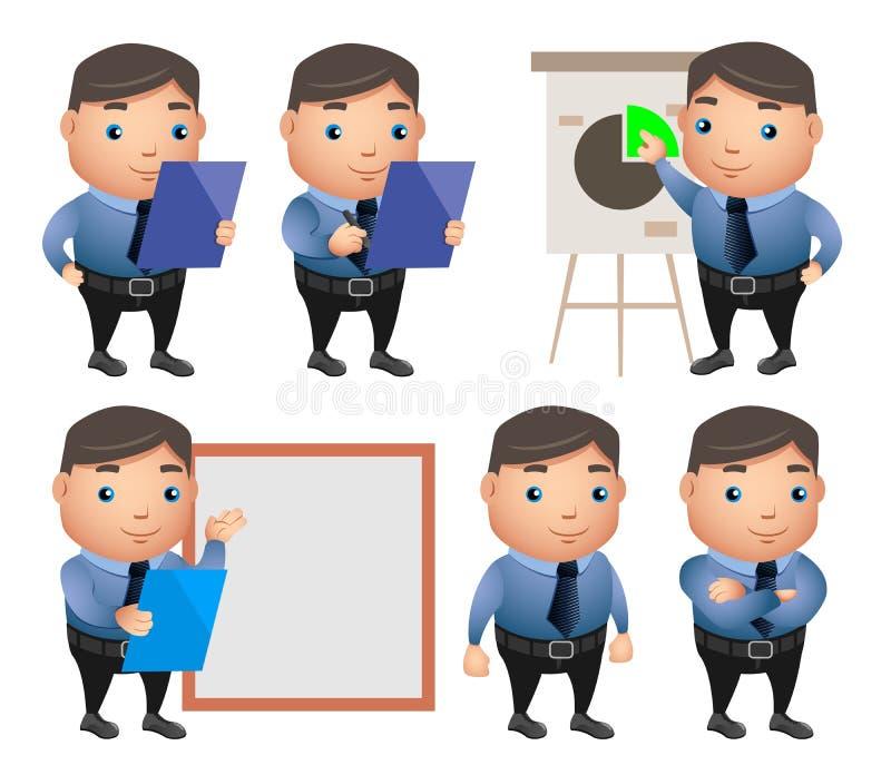 Biznesowy charakteru wektorowy ustawiający z fachowym biznesmenem royalty ilustracja