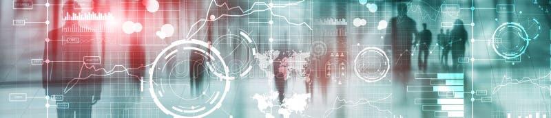 Biznesowy cyfrowy interfejs z wykresami, mapami, ikonami i linia czasu na zamazanym tle, Strona internetowa chodnikowa sztandar ilustracja wektor
