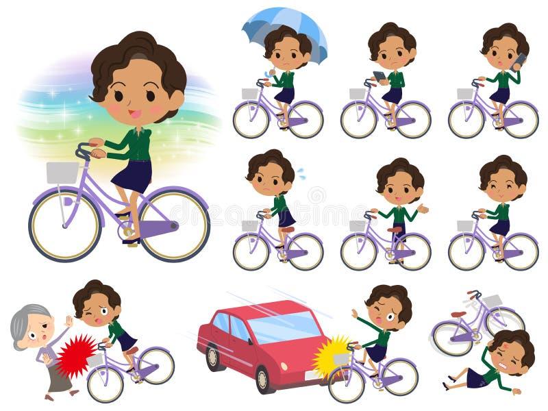 Biznesowy czarny women_city bicykl ilustracja wektor