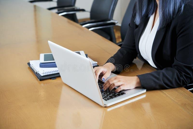 biznesowy damy laptopu dzia?anie obraz royalty free