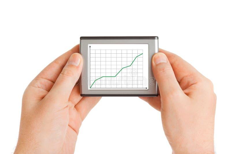 biznesowy diagrama ręk ekran zdjęcia stock