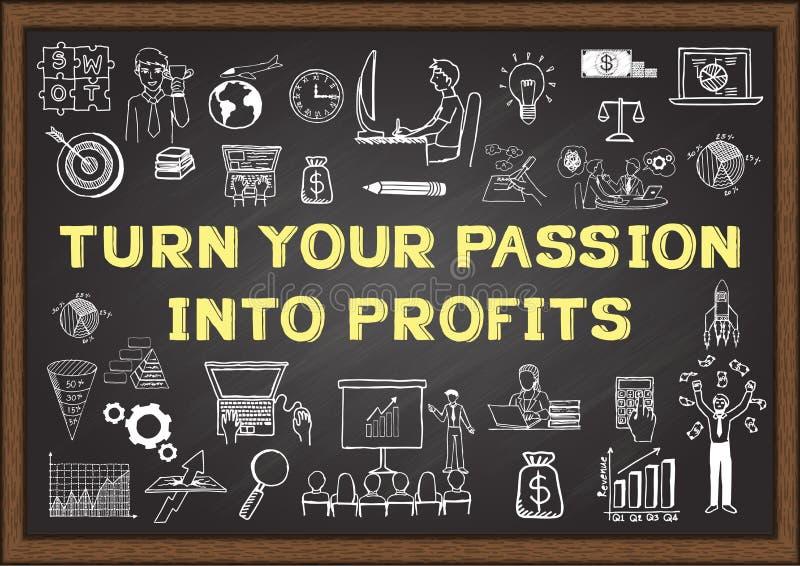 Biznesowy doodle z zwrota zwrotem W zyski na chalkboard TWÓJ pasja ilustracji
