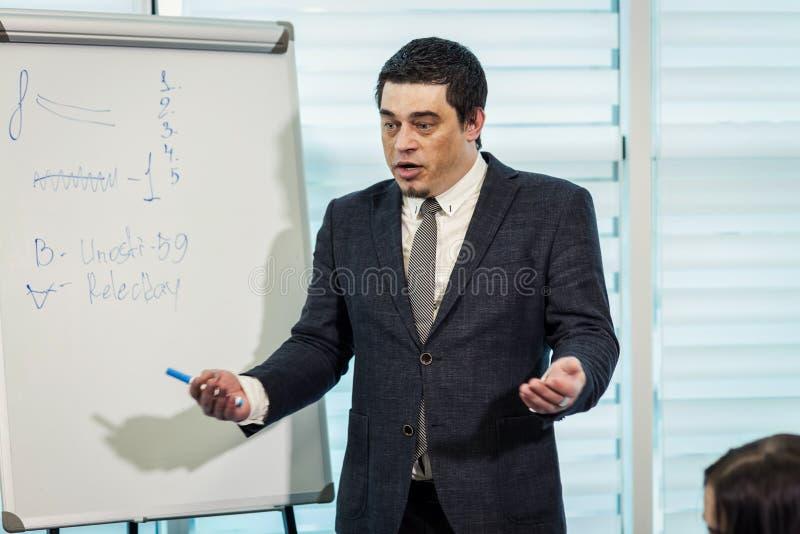 Biznesowy doradca, szef analizuje pieniężne postacie, Biznesowy Peopl zdjęcia royalty free