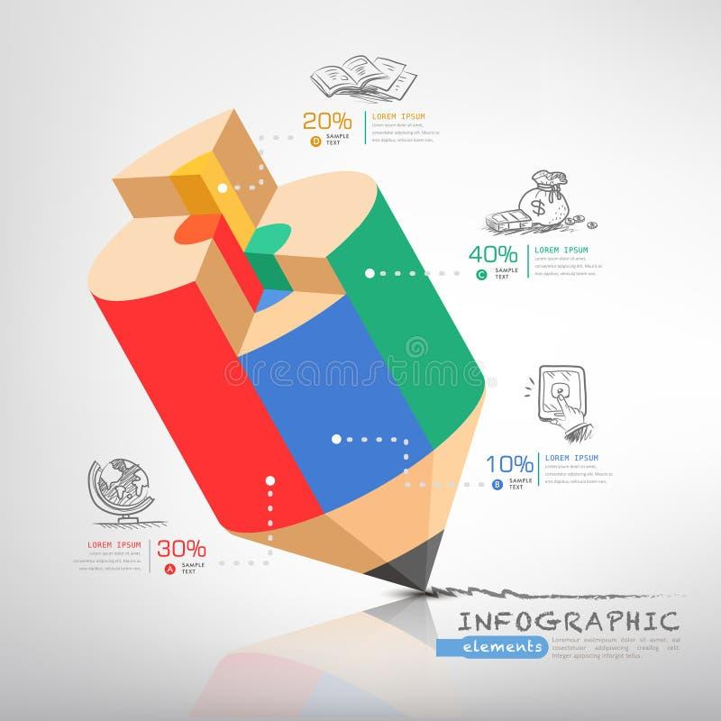 Biznesowy edukacja ołówek Infographics ilustracja wektor