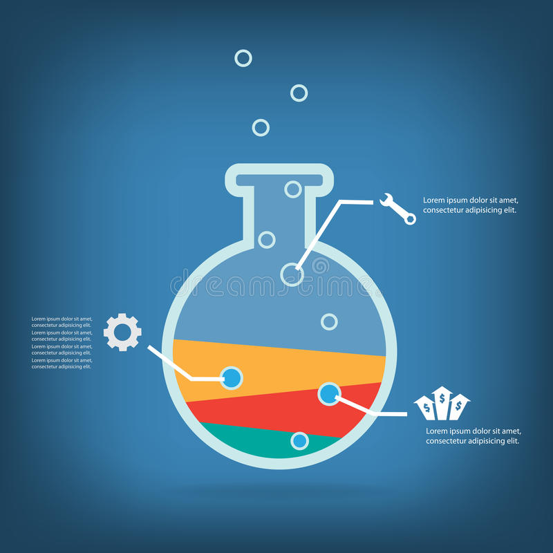 Biznesowy eksperyment, Kolorowy wektorowy projekt ilustracja wektor