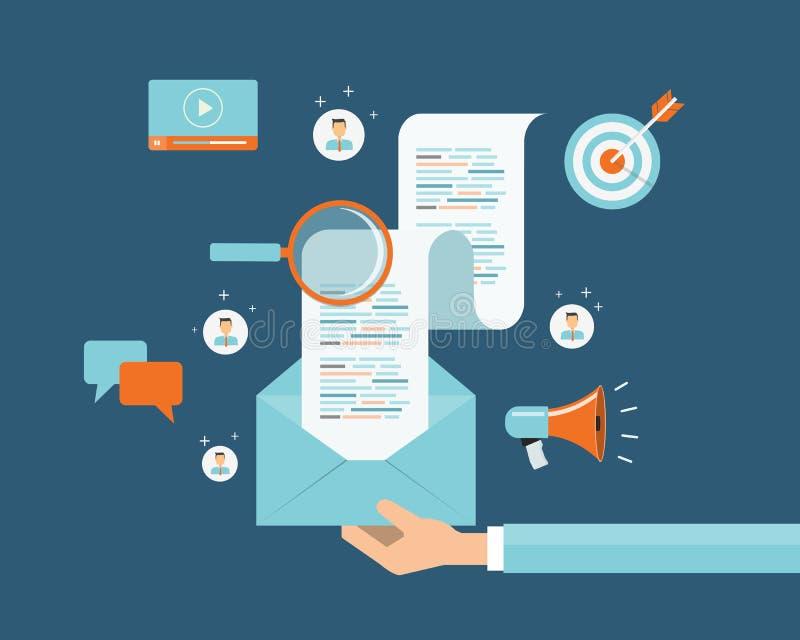Biznesowy emaila marketingu zawartości związek na ludziach tło Ogólnospołeczna sieci komunikacja royalty ilustracja