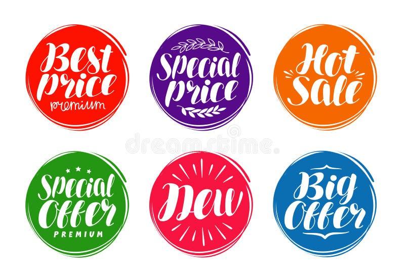 Biznesowy etykietka set Rynek, marketing, handel, sprzedaży ikona lub symbol, Ręcznie pisany literowanie, kaligrafia wektor royalty ilustracja