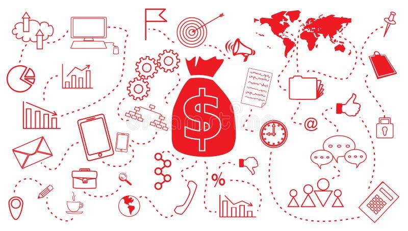 Biznesowy Finansowego planowania pojęcie dla sieć projekta szablonu ilustracji
