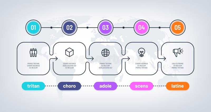 Biznesowy flowchart Linia czasu z kamieniem milowym kroczy pesentation historii mapę Infographic fakultatywny wektorowy diagram d ilustracja wektor