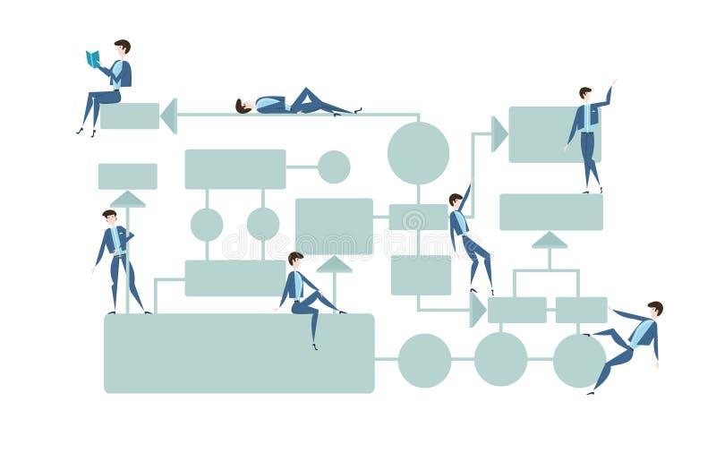 Biznesowy flowchart, zarządzanie procesami diagram z businessmans charakterami tła ilustracyjny rekinu wektoru biel ilustracji