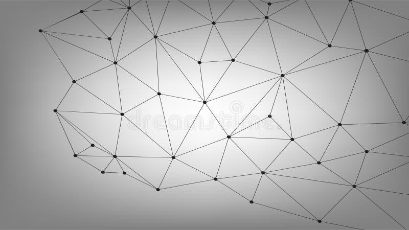 Biznesowy Globalny związek, Abstrakcjonistycznej sieci Złączona kropka, linie, odizolowywać na tle, technologii cyfrowej pojęcie  ilustracji