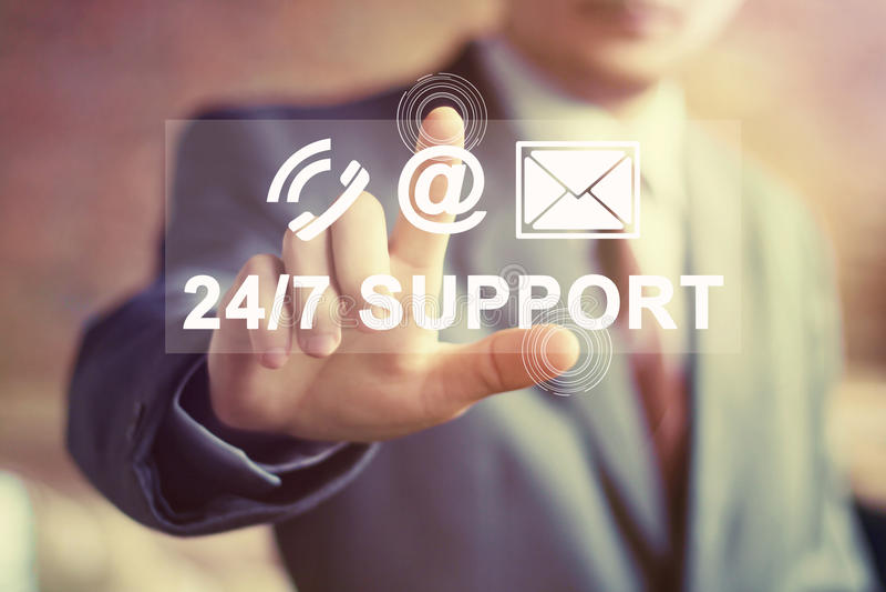 Biznesowy guzik 24 godziny poparcie ikony sieci poczta znaka fotografia royalty free