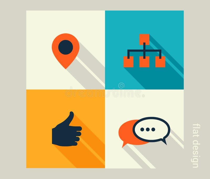 Biznesowy ikona set Oprogramowania i sieci rozwój, marketing royalty ilustracja