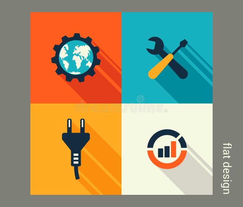 Biznesowy ikona set Oprogramowania i sieci rozwój, marketing ilustracja wektor