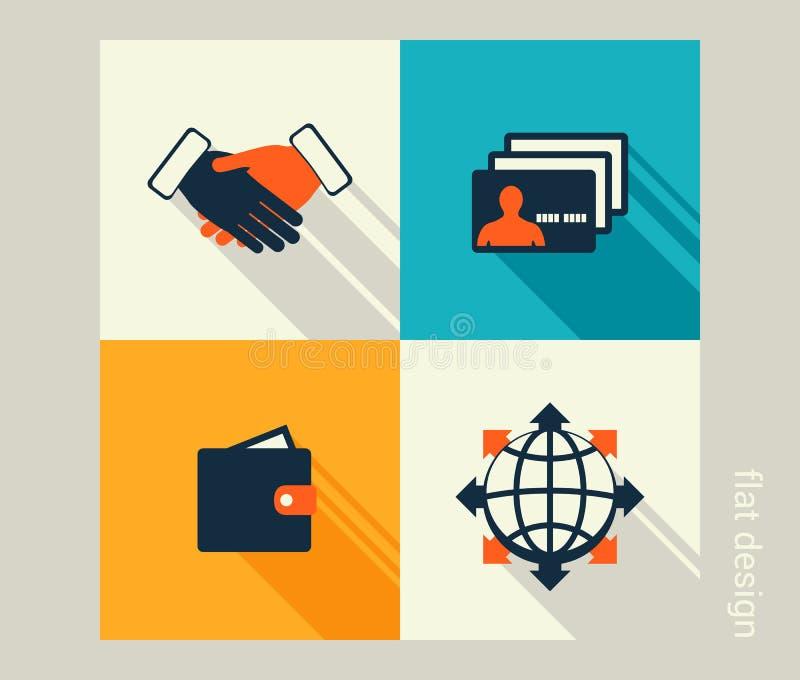 Biznesowy ikona set Oprogramowania i sieci rozwój, marketing ilustracji