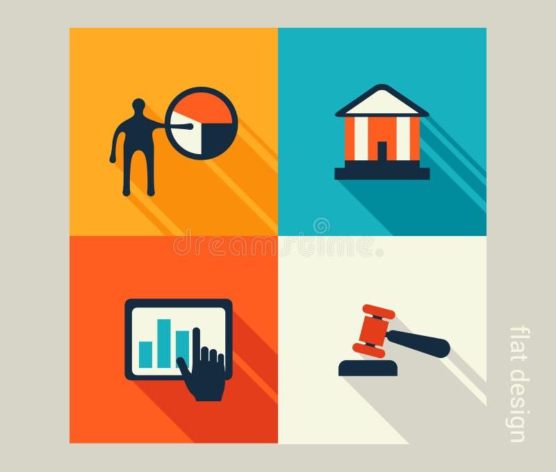 Biznesowy ikona set Oprogramowania i sieci rozwój, marketing, co ilustracji