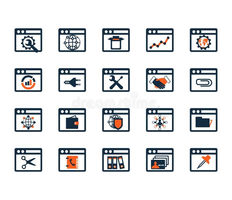 Biznesowy ikona set Oprogramowanie, sieć rozwój, finanse, deponuje pieniądze royalty ilustracja