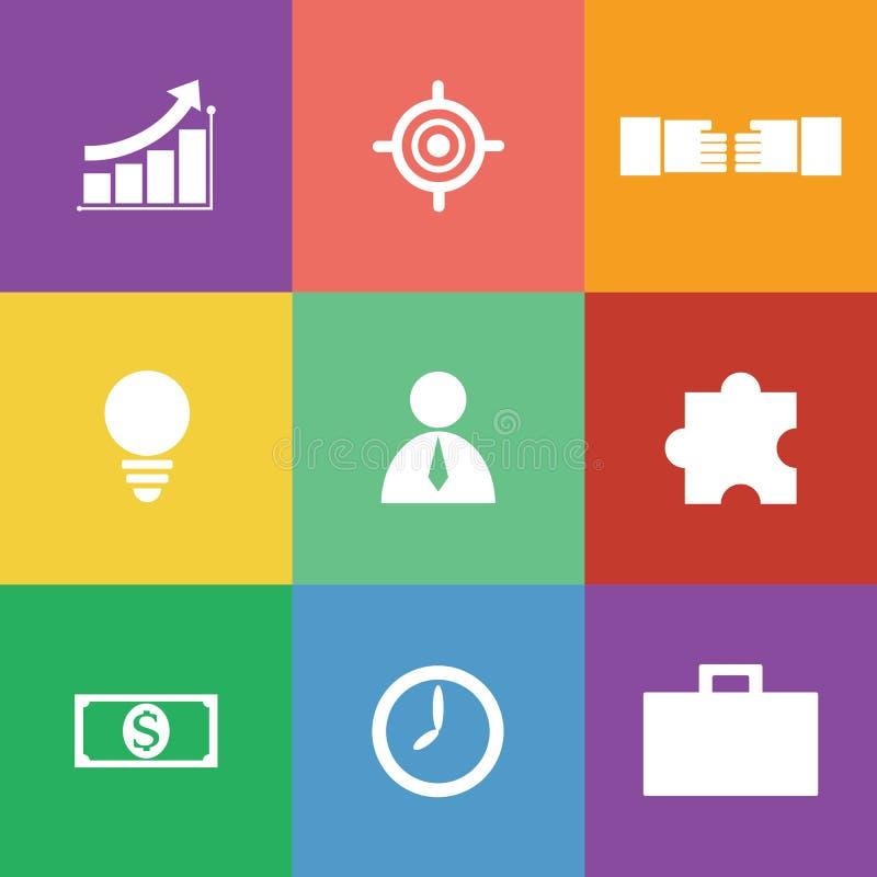 Biznesowy ikona set, płaski projekt ilustracja wektor