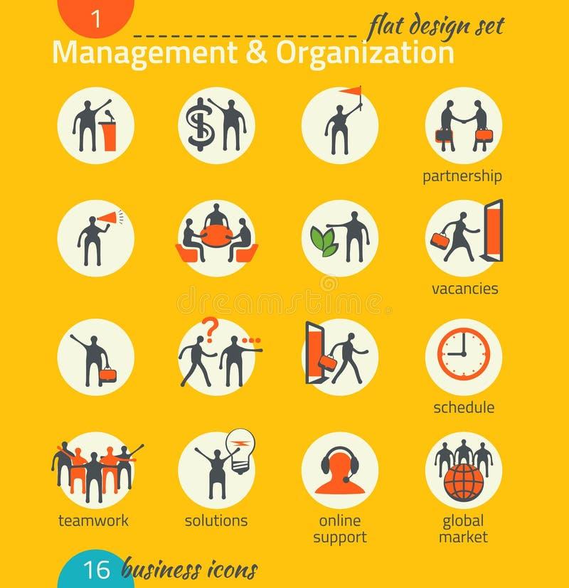 Biznesowy ikona set Zarządzanie, działy zasobów ludzkich, marketing royalty ilustracja