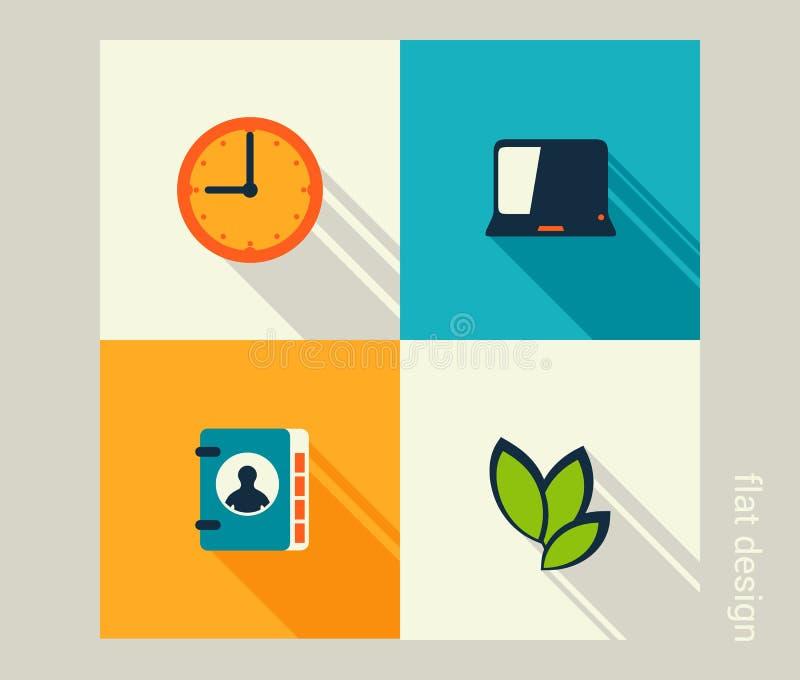 Biznesowy ikona set Zarządzanie, działy zasobów ludzkich, marketing, com ilustracji
