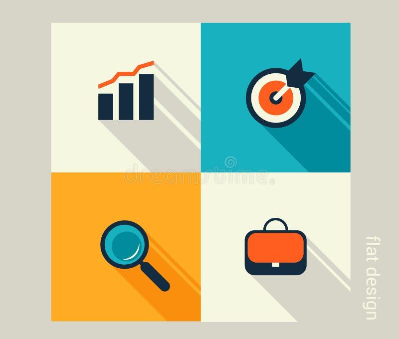 Biznesowy ikona set Zarządzanie, działy zasobów ludzkich, marketing, com ilustracja wektor