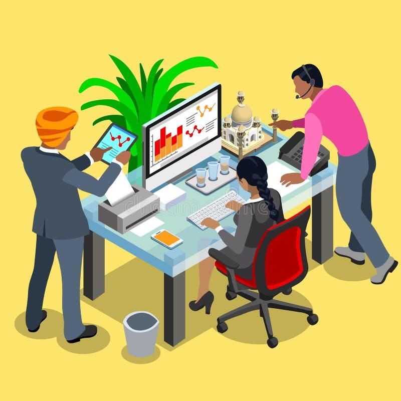 Biznesowy indianin 04 Isometric ludzie ilustracja wektor