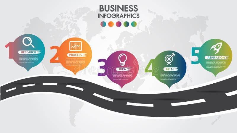 Biznesowy Infographic projekta drogowy szablon z ikona kolorowego wałkowego pointeru i 5 liczb opcjami Może używać dla proces ter ilustracja wektor