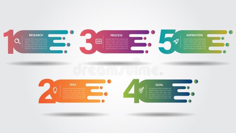 Biznesowy Infographic projekta drogowy szablon z ikona kolorowego wa?kowego pointeru i 5 liczb opcjami Mo?e u?ywa? dla procesu royalty ilustracja