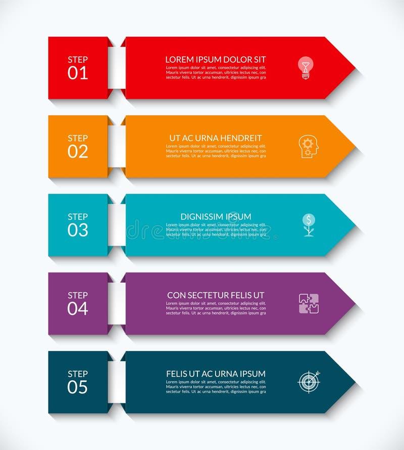 Biznesowy infographic strzałkowaty szablon z 5 opcjami Może używać dla diagrama, wykres, mapa, raport, sieć projekt ilustracji