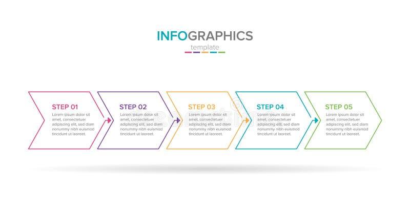 Biznesowy Infographic szablon z ikonami Cienki kreskowy projekt z liczbami 5 krok?w lub opcje biznesowi wska?nik?w infographics t ilustracji