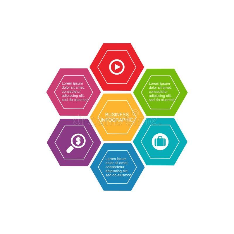 Biznesowy infographic sześciokąt, płaski projekt na białym tle, ilustracja wektor