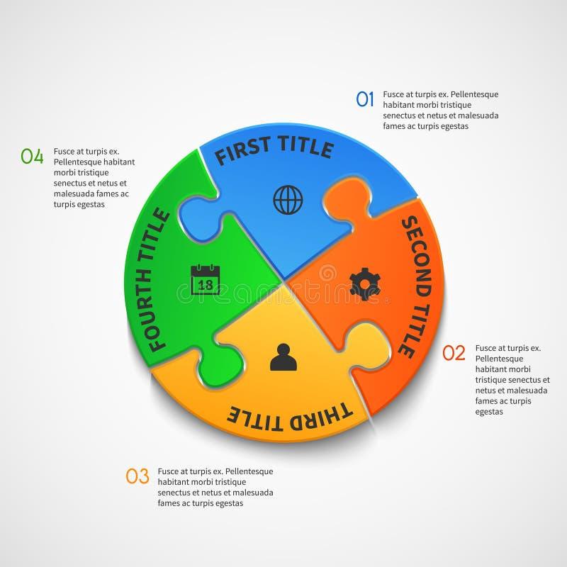Biznesowy infographic wektorowy szablon z łamigłówek opcjami ilustracji