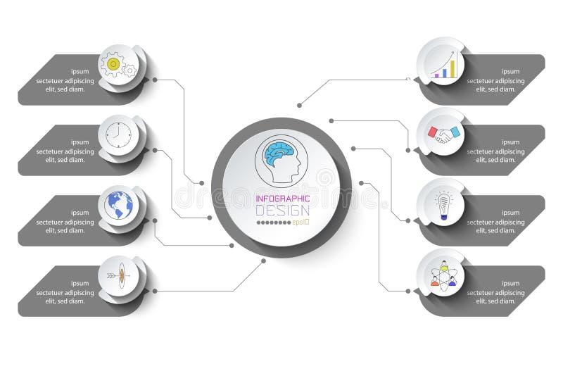 Biznesowy infographic z 8 krokami ilustracji