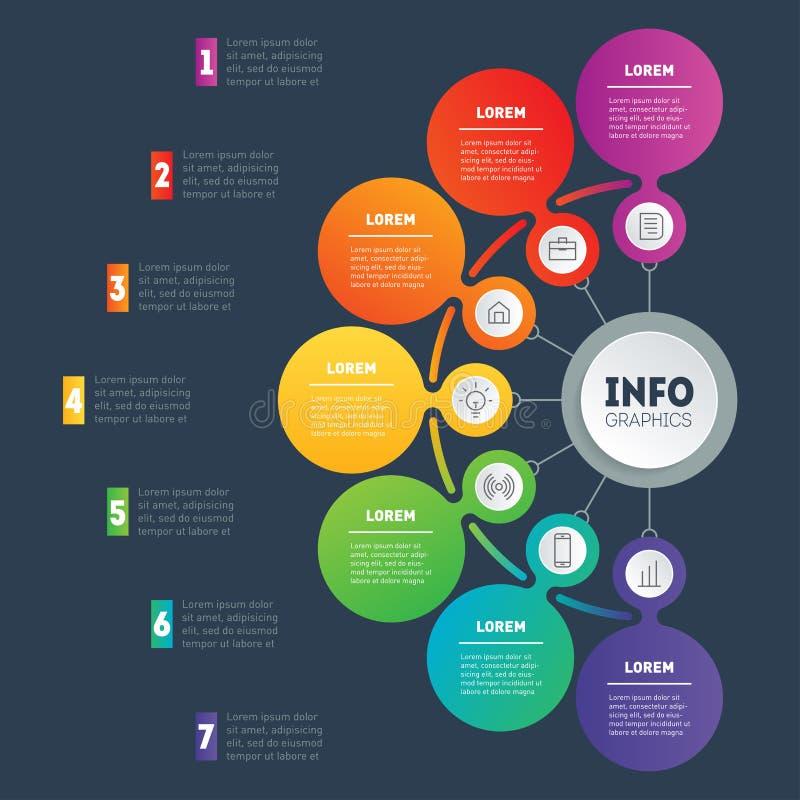 Biznesowy infographic z 7 opcjami lub prezentacja Sieć Templat ilustracja wektor