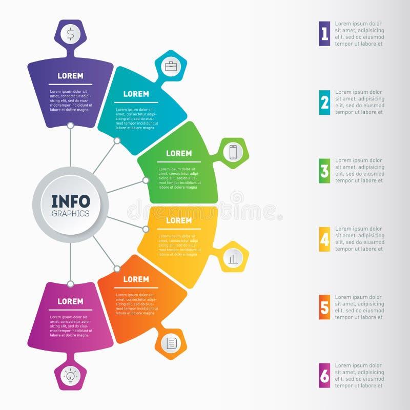 Biznesowy infographic z 6 opcjami lub prezentacja Wektorowa informacja royalty ilustracja