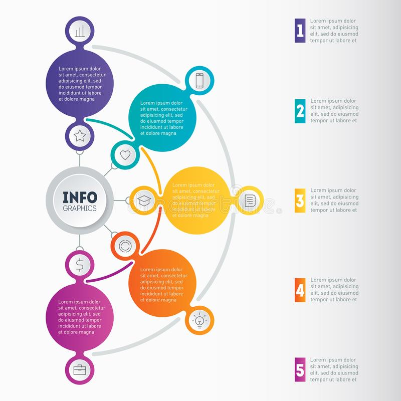 Biznesowy infographic z 5 opcjami lub prezentacja Wektorowy dyna royalty ilustracja