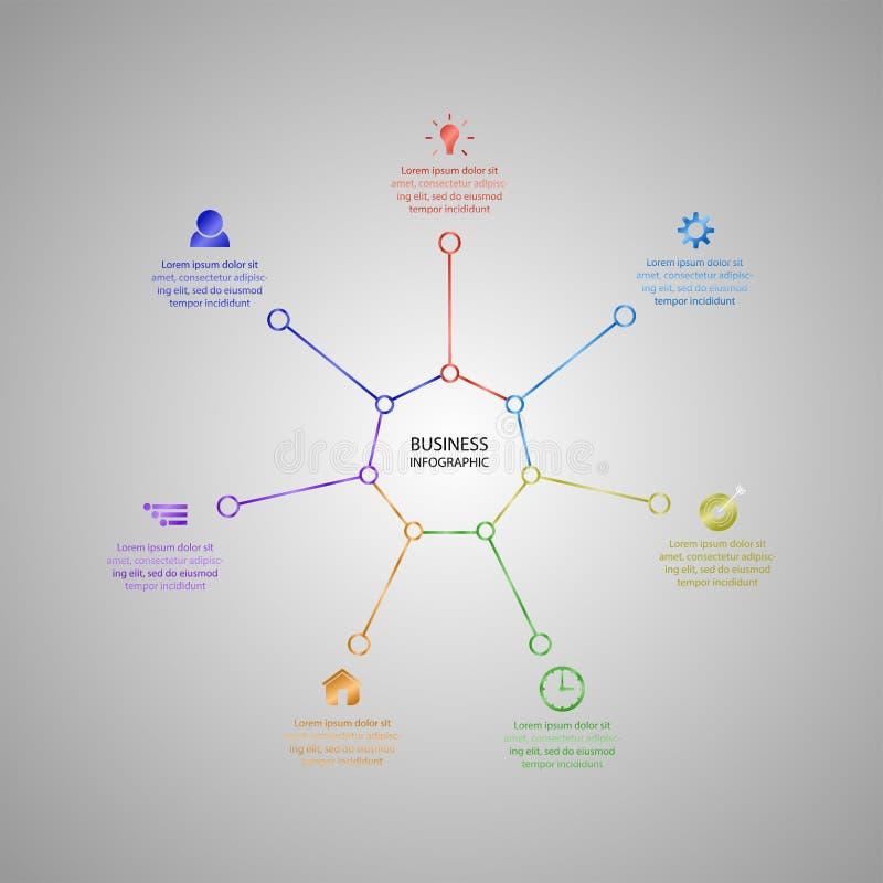 Biznesowy InfoGraphics, geometria, siedmiokąta projekt, Marketingowa prezentacja, sekcja sztandar ilustracja wektor