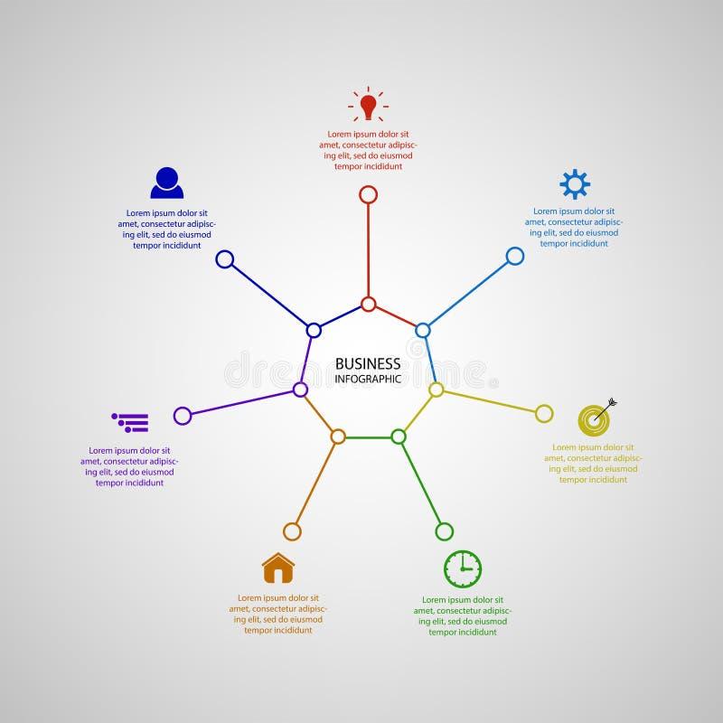 Biznesowy InfoGraphics, geometria, siedmiokąta projekt, Marketingowa prezentacja, sekcja sztandar ilustracji