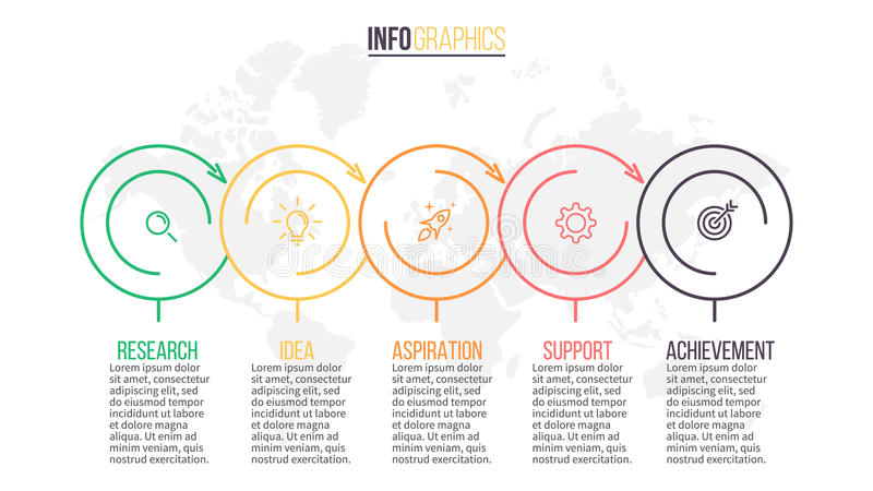 Biznesowy Infographics Prezentaci obruszenie, mapa, diagram z 5 krokami, okręgi ilustracja wektor
