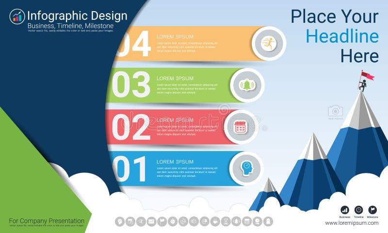 Biznesowy infographics raport, kamień milowy linia czasu lub Drogowa mapa z Proces flowchart 4 opcjami, ilustracja wektor